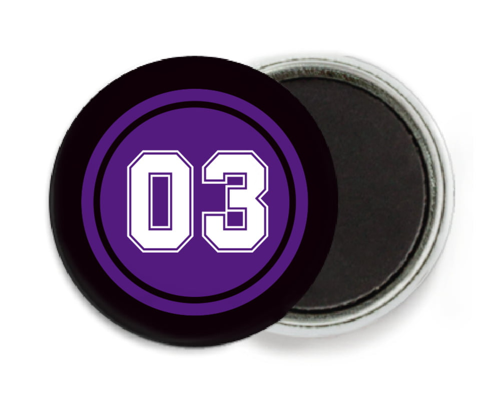 custom button magnets - purple & black - soccer (set of 6)