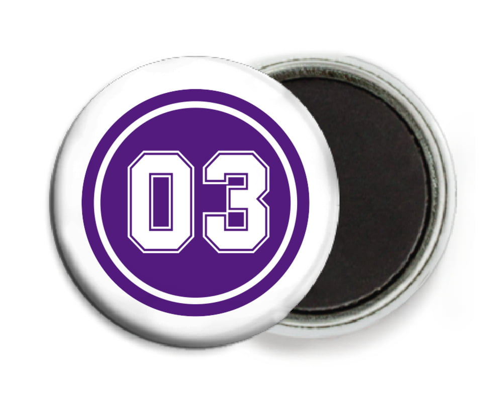 custom button magnets - purple & white - soccer (set of 6)
