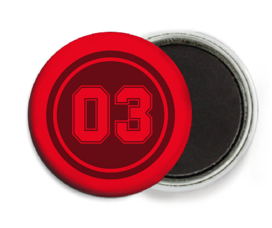 custom button magnets - maroon & red - soccer (set of 6)
