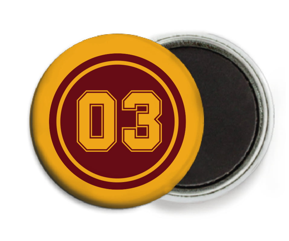 custom button magnets - maroon & gold - soccer (set of 6)