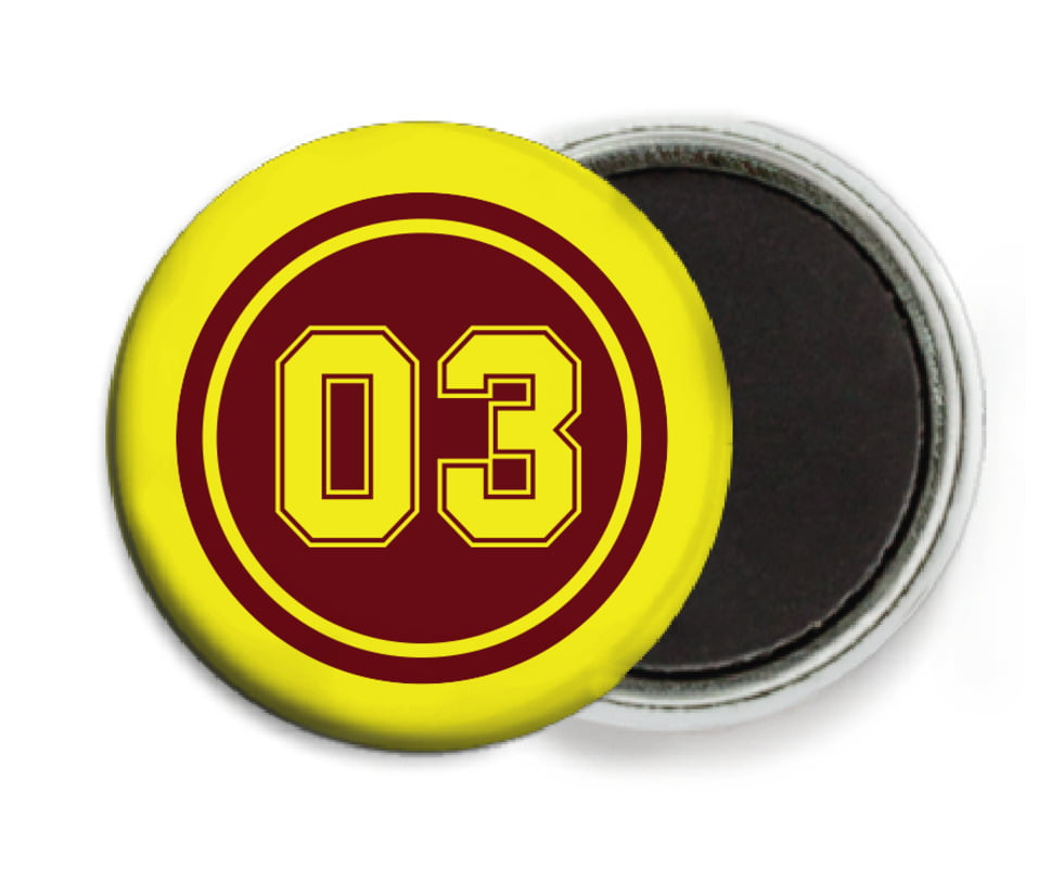 custom button magnets - maroon & yellow - soccer (set of 6)