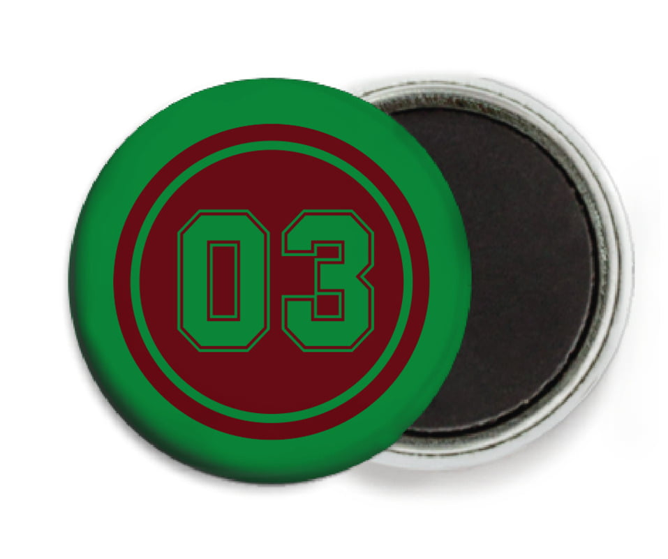 custom button magnets - maroon & green - soccer (set of 6)