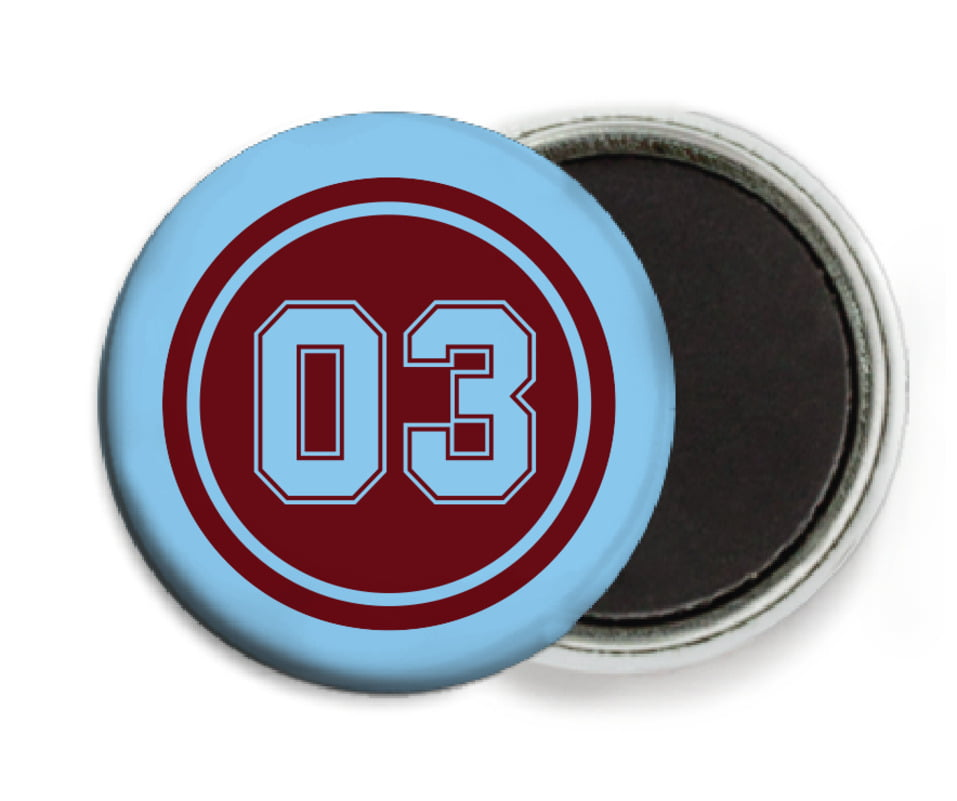 custom button magnets - maroon & light blue - soccer (set of 6)