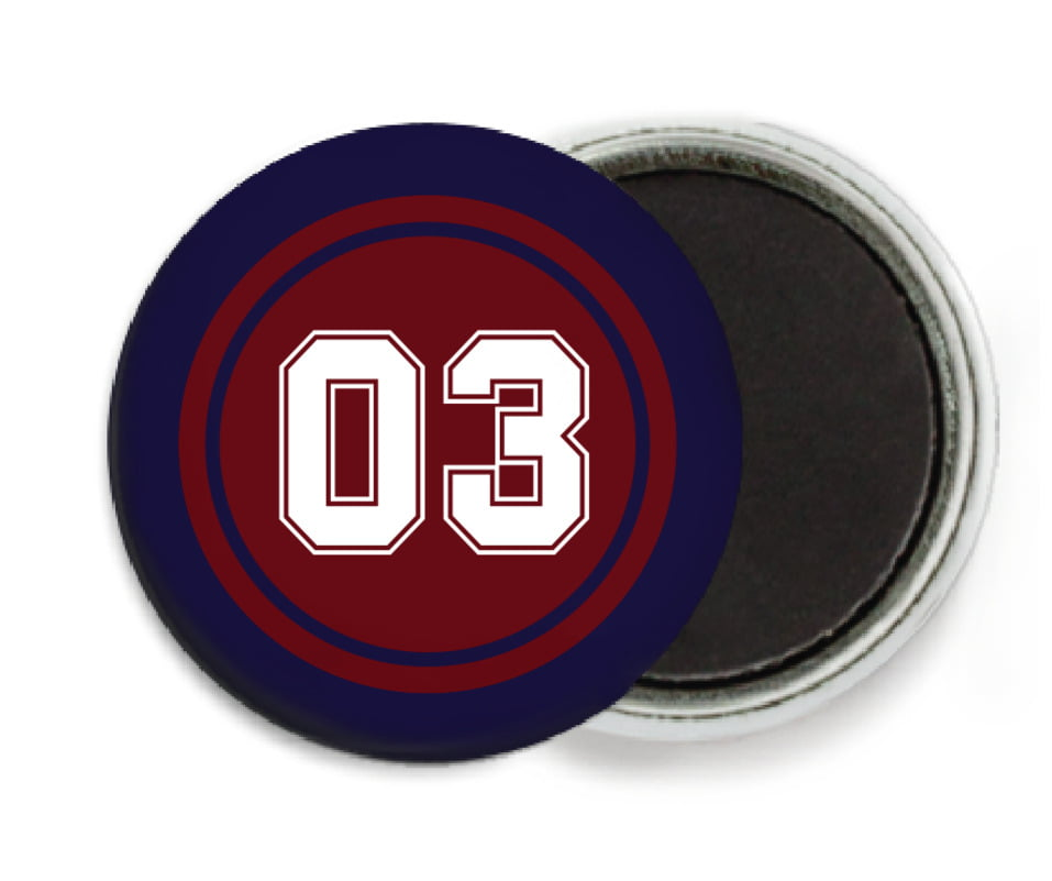 custom button magnets - maroon & navy - soccer (set of 6)