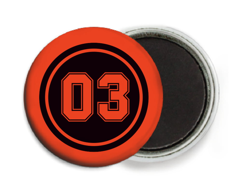 custom button magnets - black & orange - soccer (set of 6)