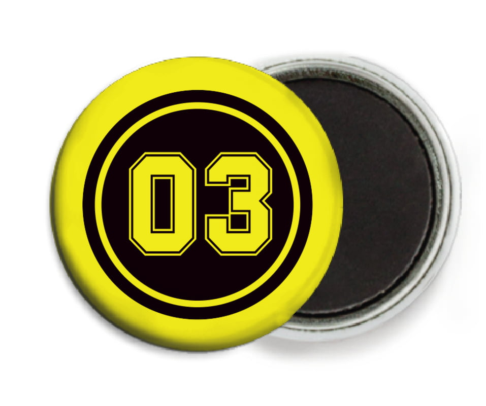 custom button magnets - black & yellow - soccer (set of 6)