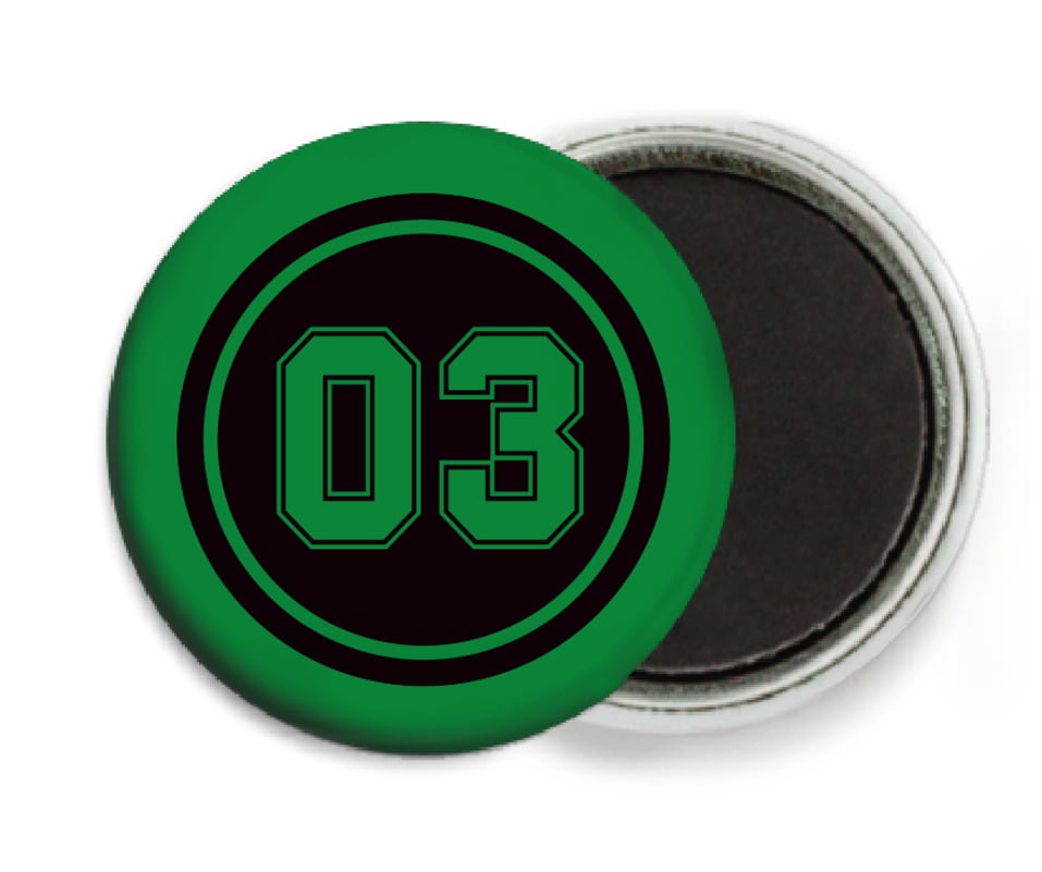 custom button magnets - black & green - soccer (set of 6)