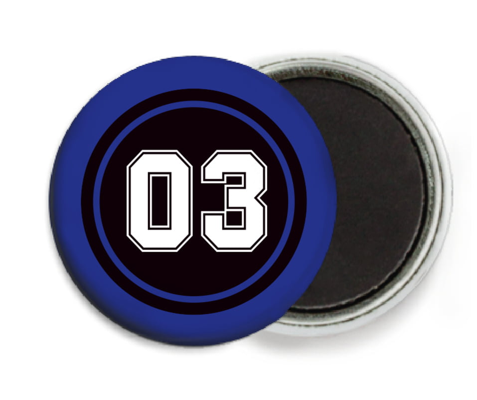 custom button magnets - black & royal - soccer (set of 6)