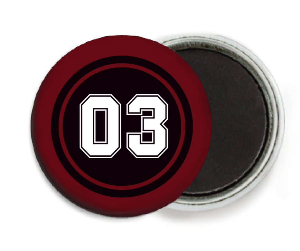 custom button magnets - black & maroon - soccer (set of 6)