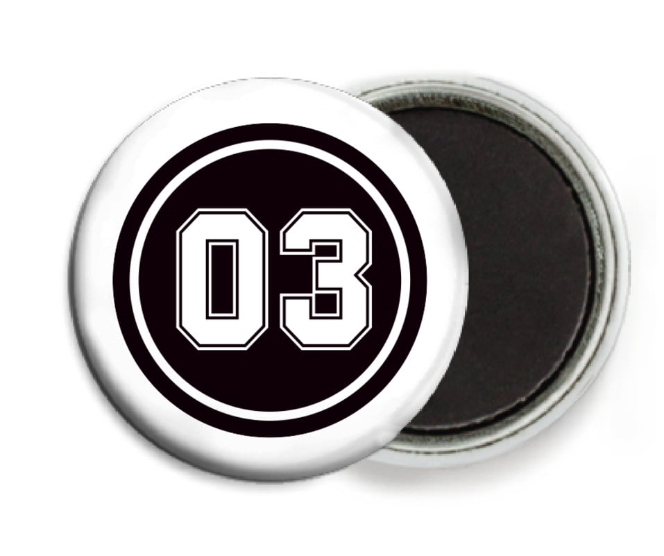 custom button magnets - black & white - soccer (set of 6)