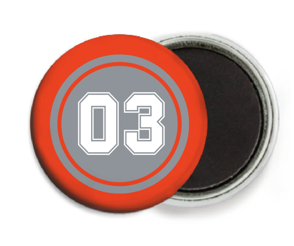 custom button magnets - silver & orange - soccer (set of 6)