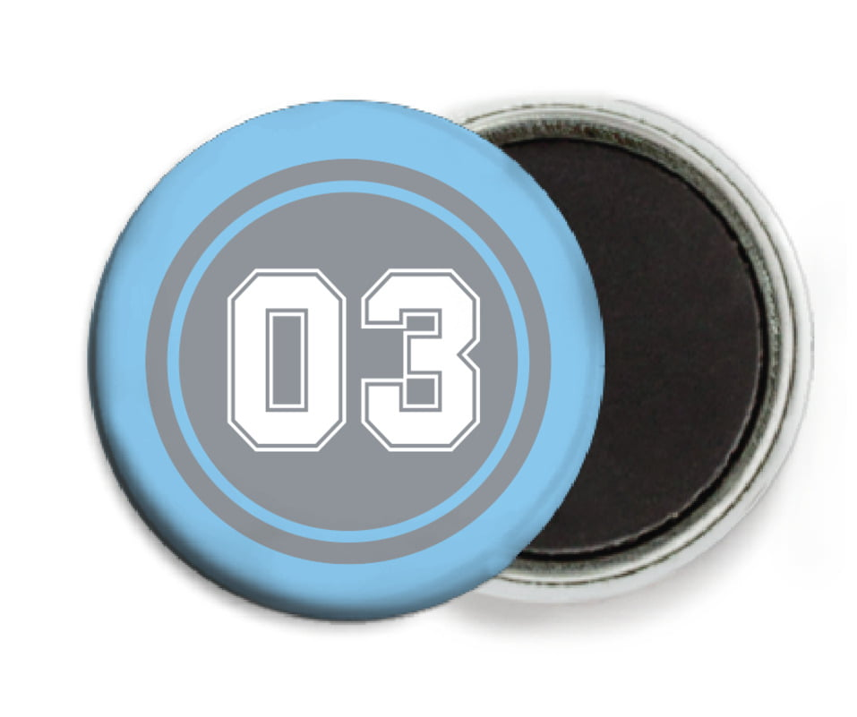 custom button magnets - silver & light blue - soccer (set of 6)