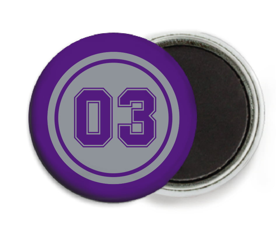 custom button magnets - silver & purple - soccer (set of 6)