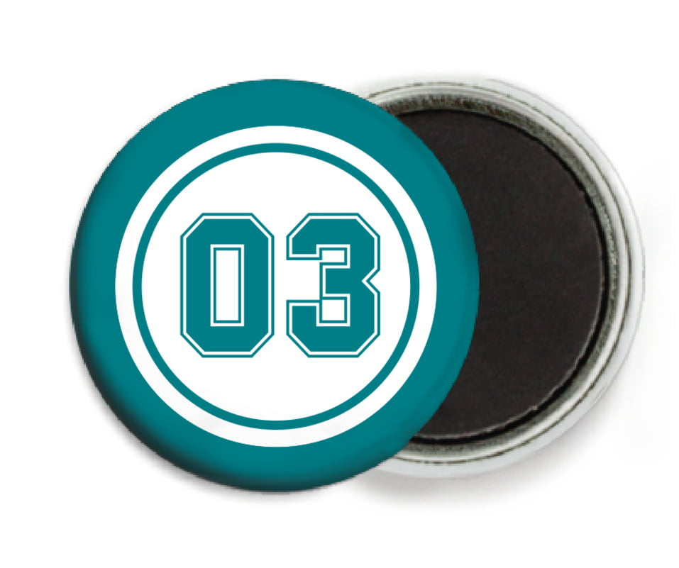 custom button magnets - white & teal - soccer (set of 6)