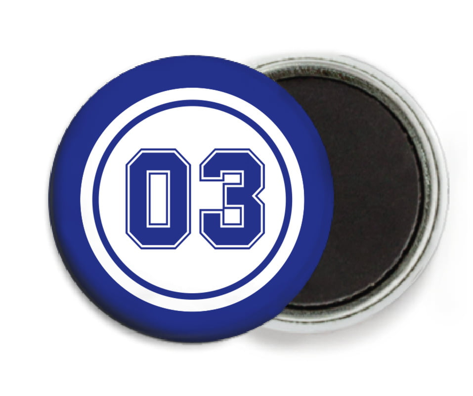 custom button magnets - white & royal - soccer (set of 6)