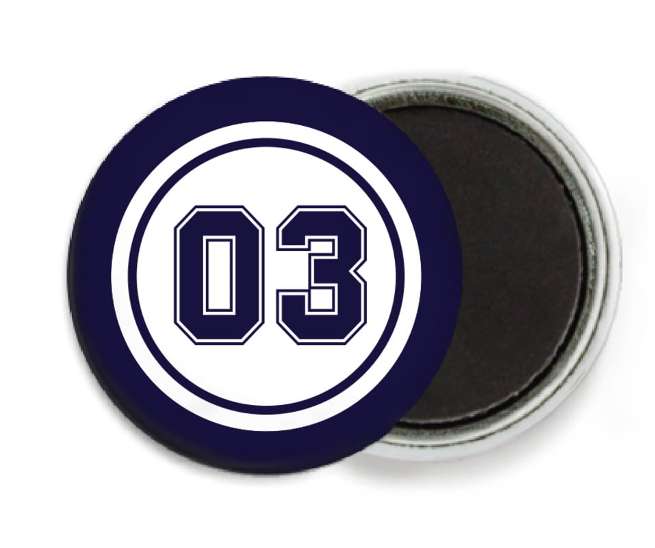 custom button magnets - white & navy - soccer (set of 6)