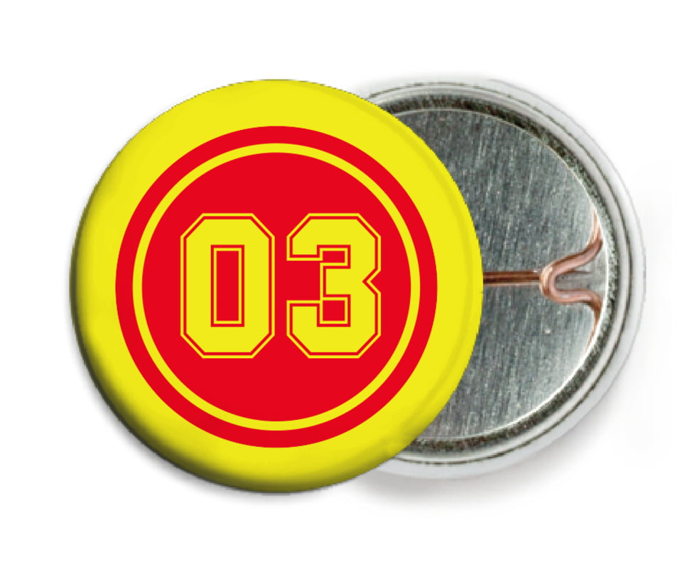 custom pin back buttons - red & yellow - soccer (set of 6)