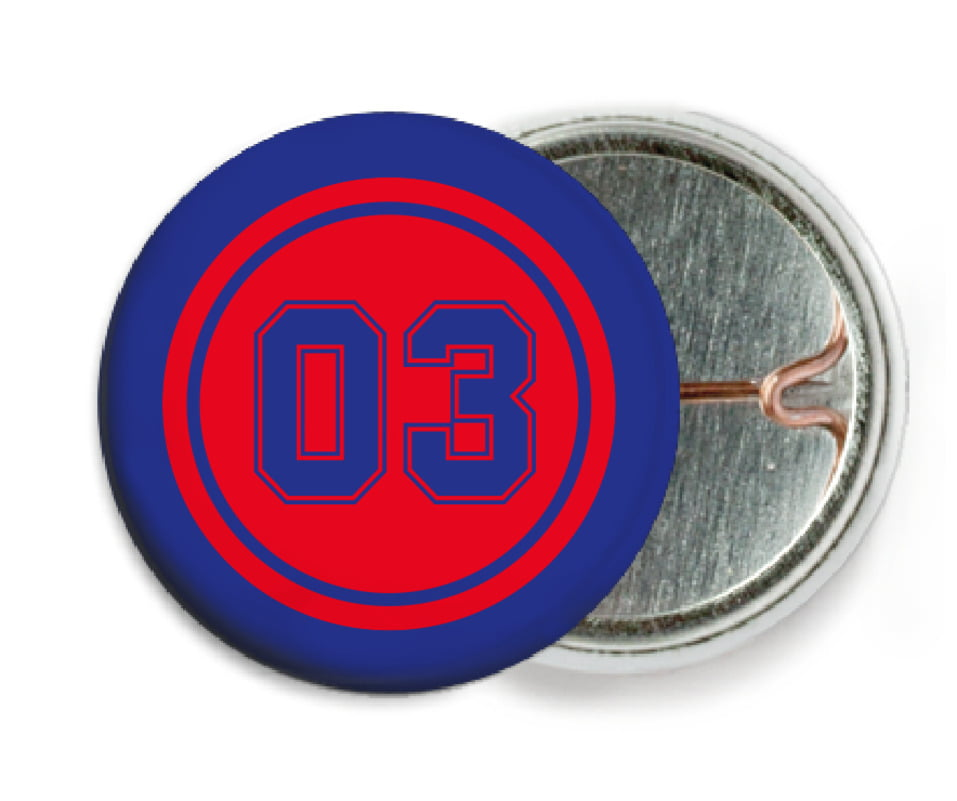 custom pin back buttons - red & royal - soccer (set of 6)