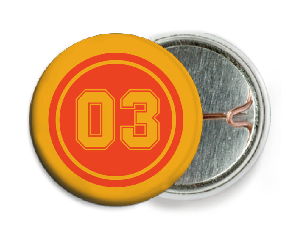 custom pin back buttons - orange & gold - soccer (set of 6)