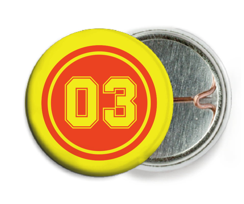custom pin back buttons - orange & yellow - soccer (set of 6)