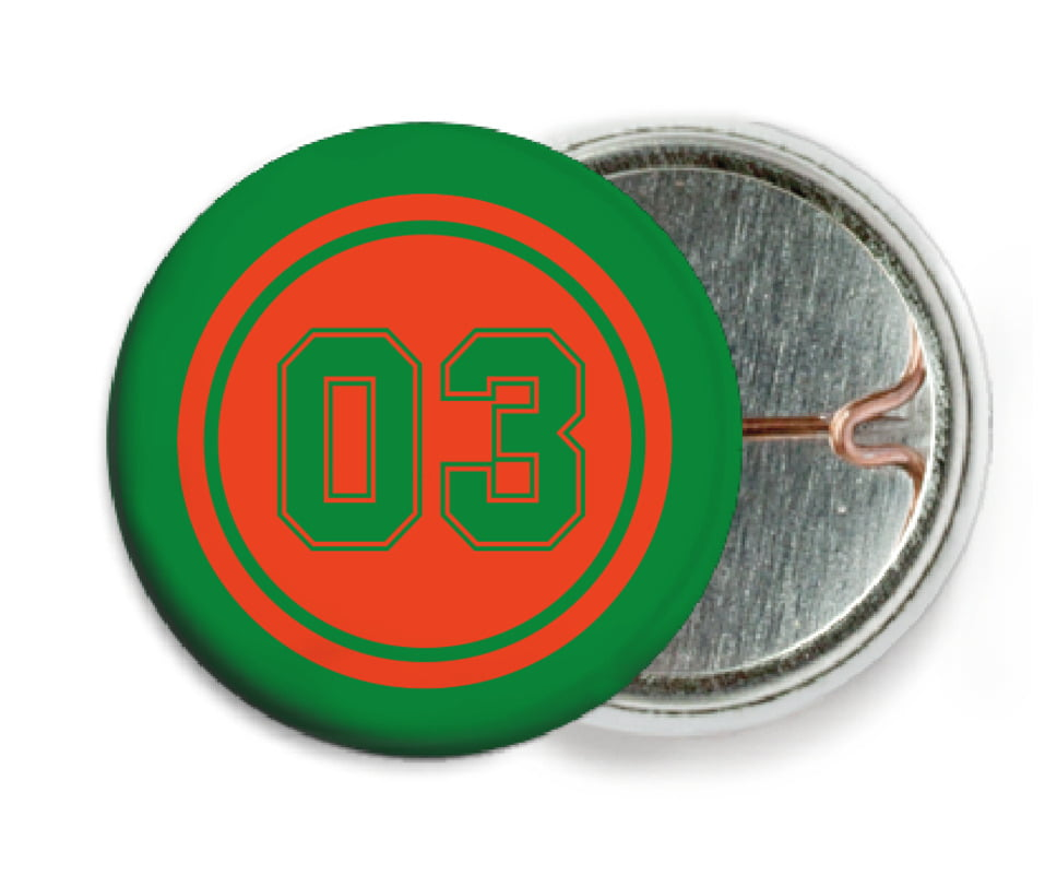 custom pin back buttons - orange & green - soccer (set of 6)