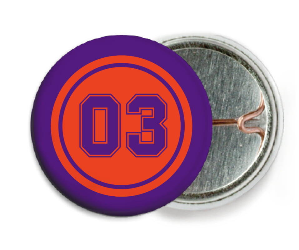 custom pin back buttons - orange & purple - soccer (set of 6)