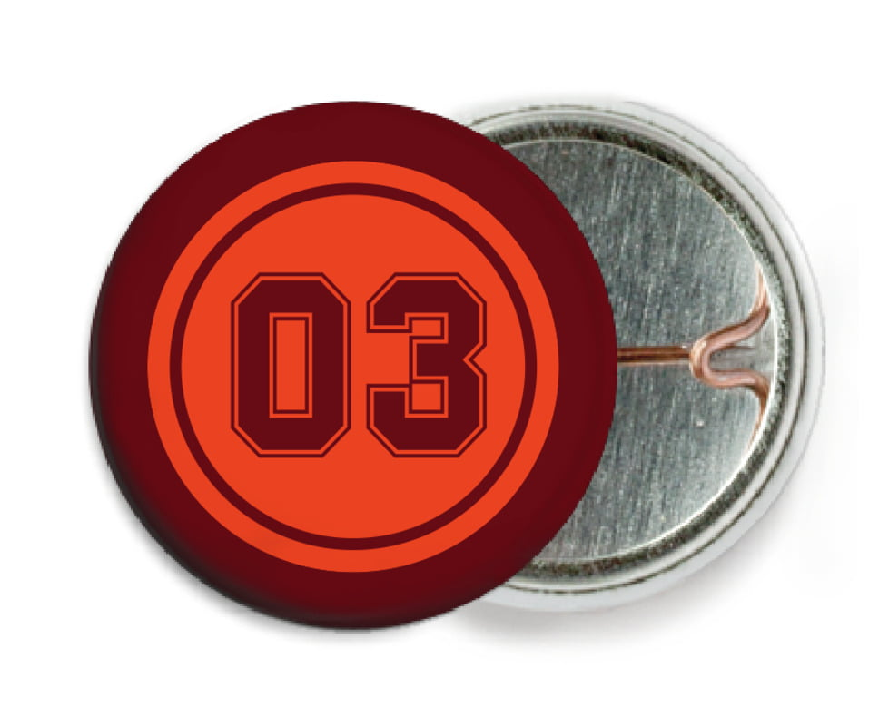 custom pin back buttons - orange & maroon - soccer (set of 6)