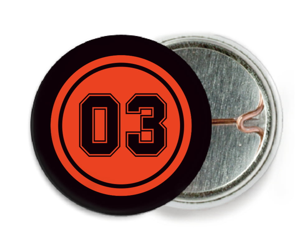 custom pin back buttons - orange & black - soccer (set of 6)