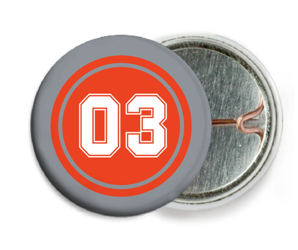 custom pin back buttons - orange & silver - soccer (set of 6)