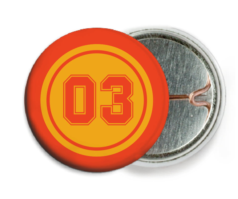 custom pin back buttons - gold & orange - soccer (set of 6)