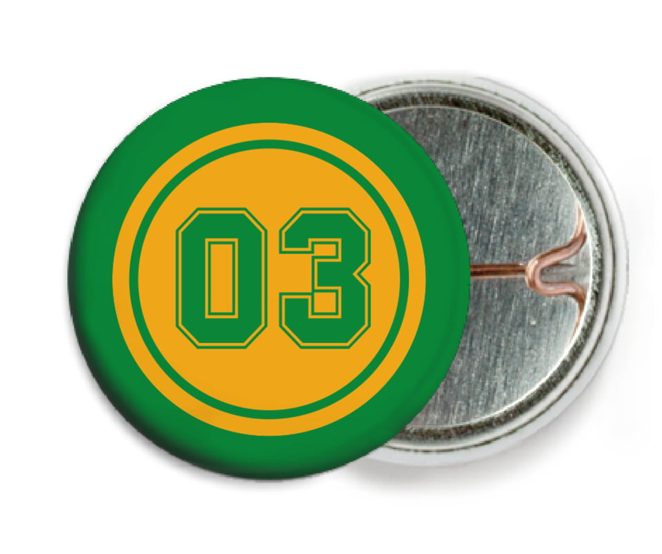 custom pin back buttons - gold & green - soccer (set of 6)