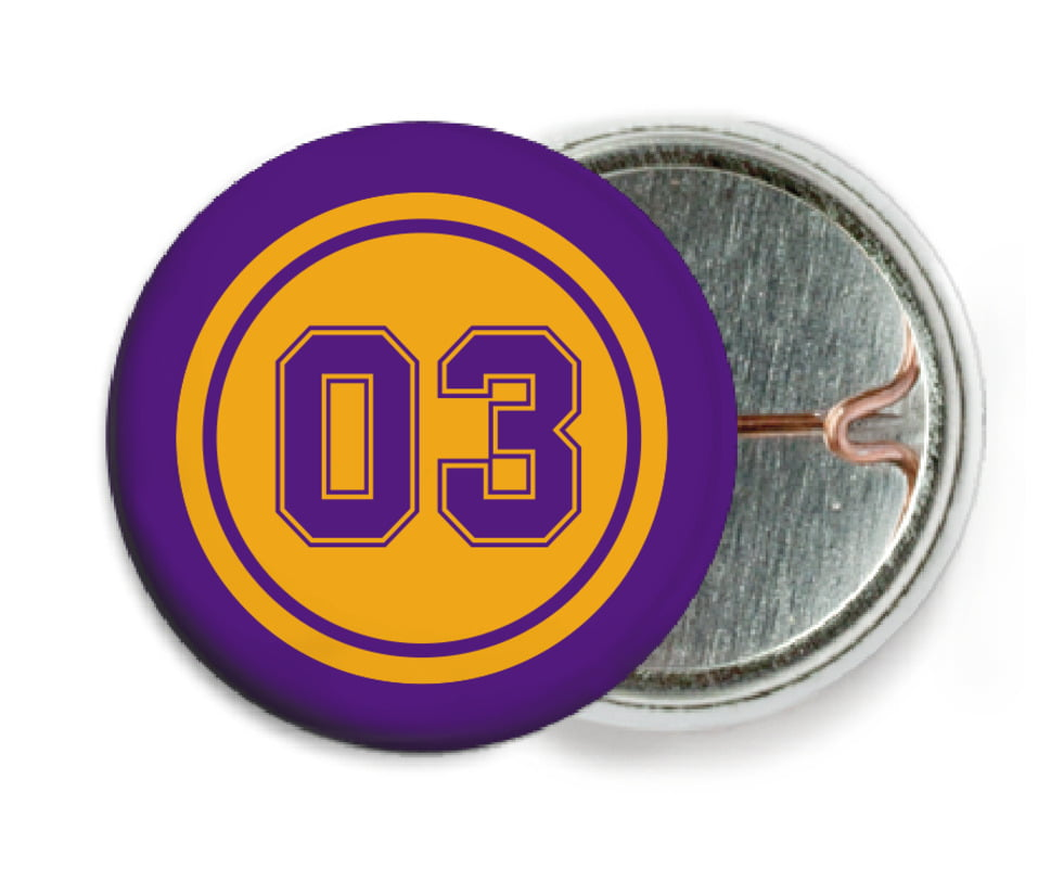 custom pin back buttons - gold & purple - soccer (set of 6)