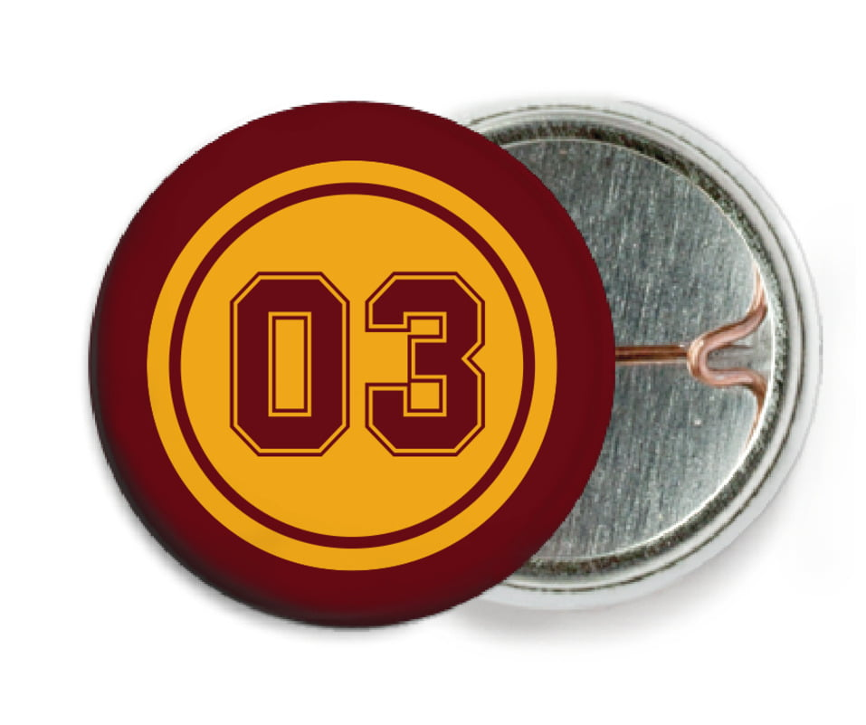 custom pin back buttons - gold & maroon - soccer (set of 6)