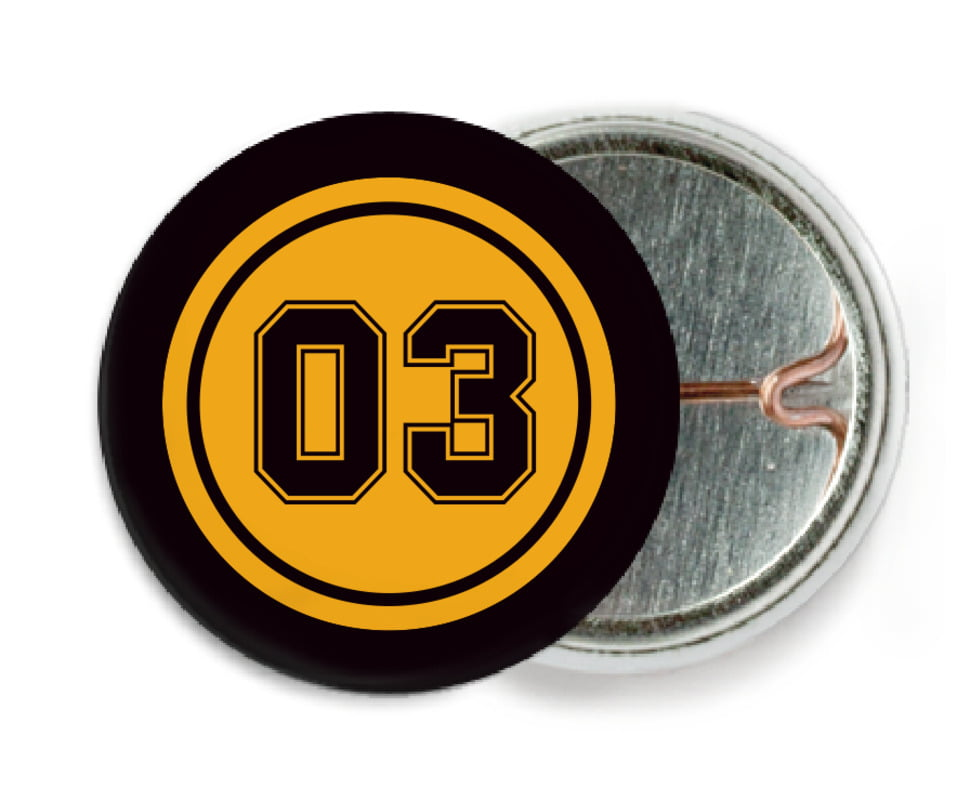 custom pin back buttons - gold & black - soccer (set of 6)