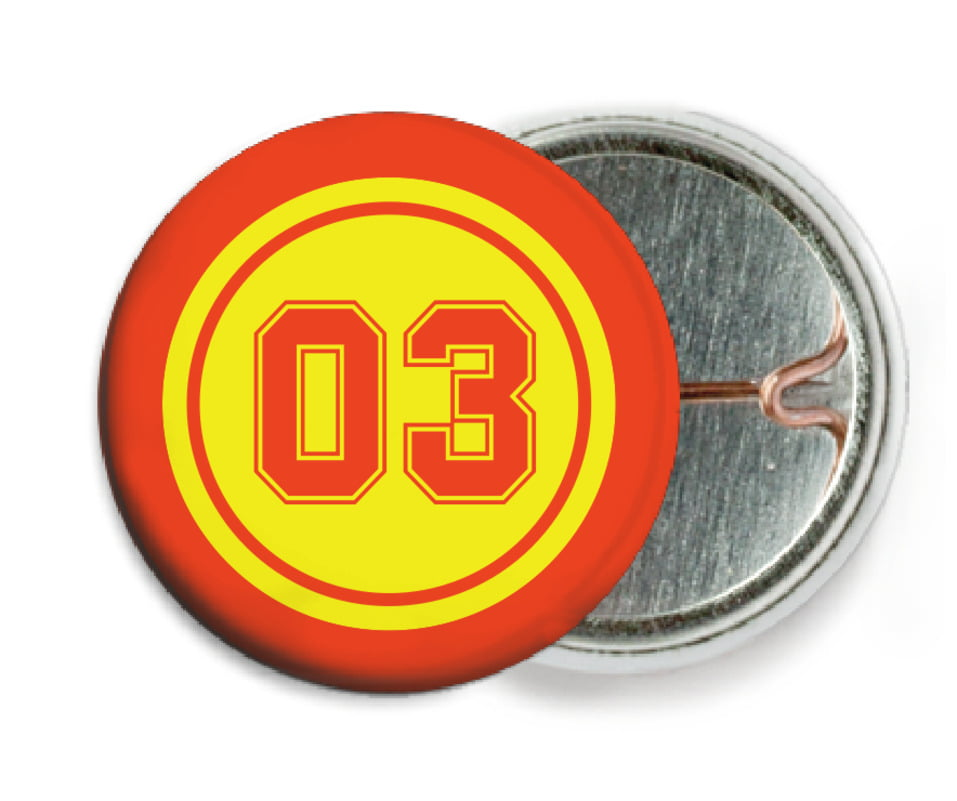 custom pin back buttons - yellow & orange - soccer (set of 6)