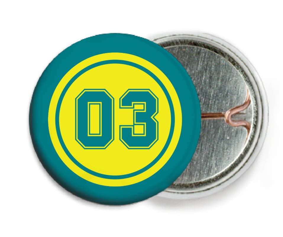custom pin back buttons - yellow & teal - soccer (set of 6)