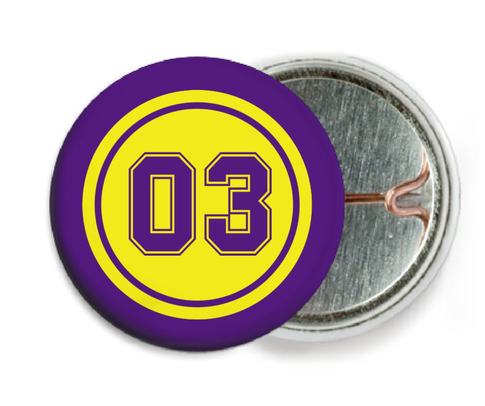 custom pin back buttons - yellow & purple - soccer (set of 6)