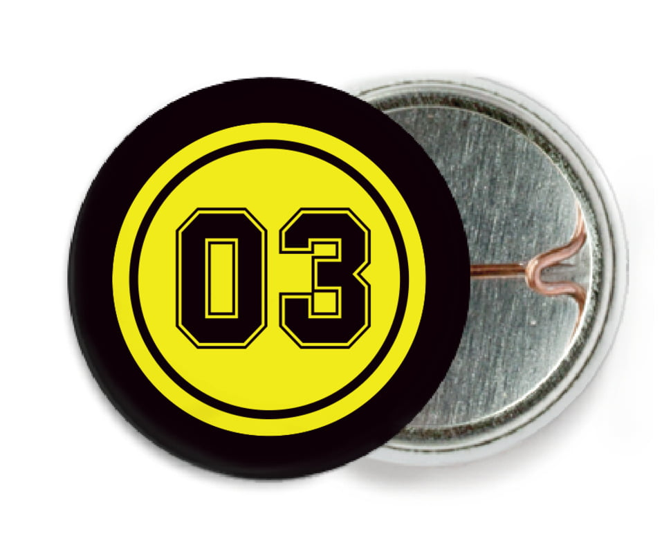 custom pin back buttons - yellow & black - soccer (set of 6)