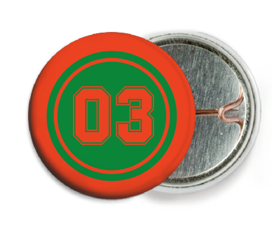 custom pin back buttons - green & orange - soccer (set of 6)