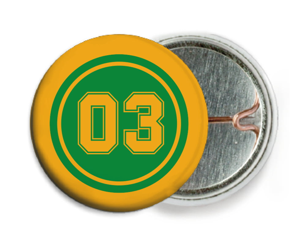 custom pin back buttons - green & gold - soccer (set of 6)