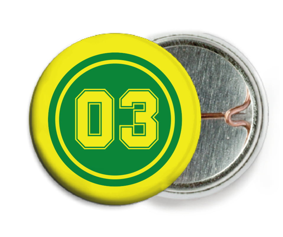 custom pin back buttons - green & yellow - soccer (set of 6)