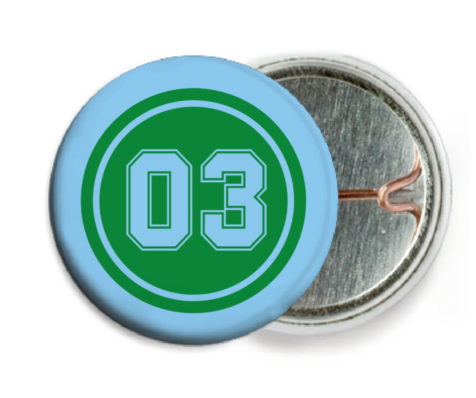 custom pin back buttons - green & light blue - soccer (set of 6)