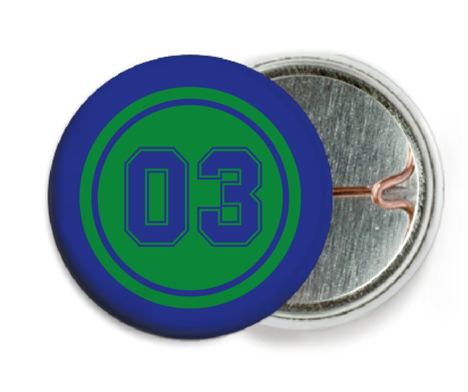 custom pin back buttons - green & royal - soccer (set of 6)