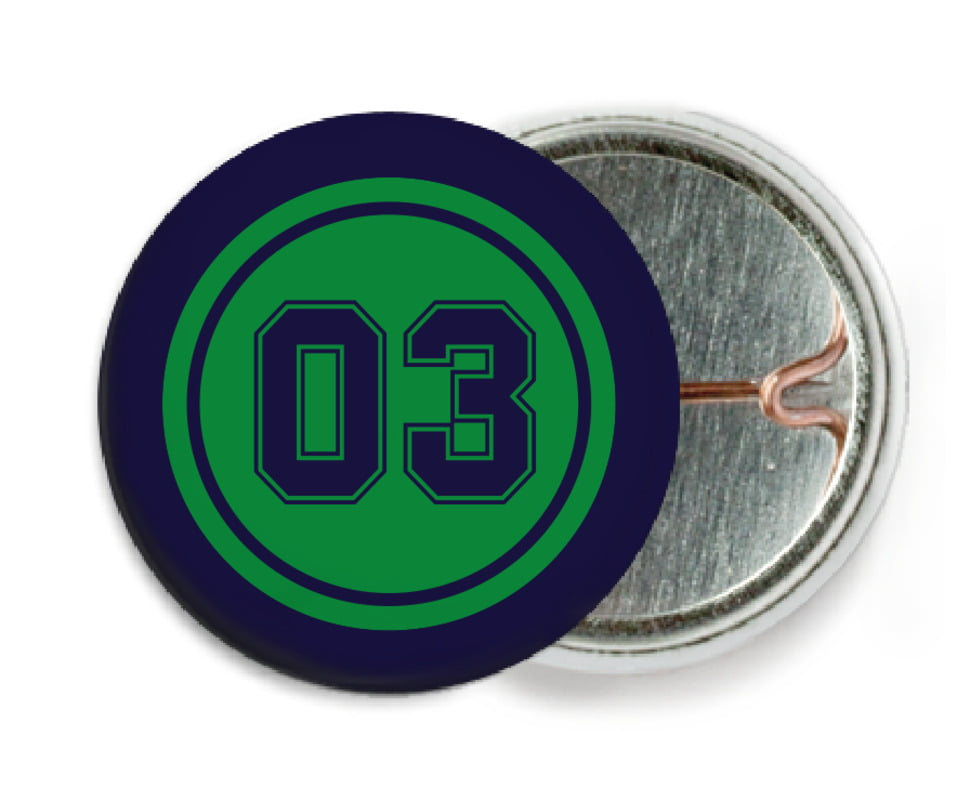 custom pin back buttons - green & navy - soccer (set of 6)
