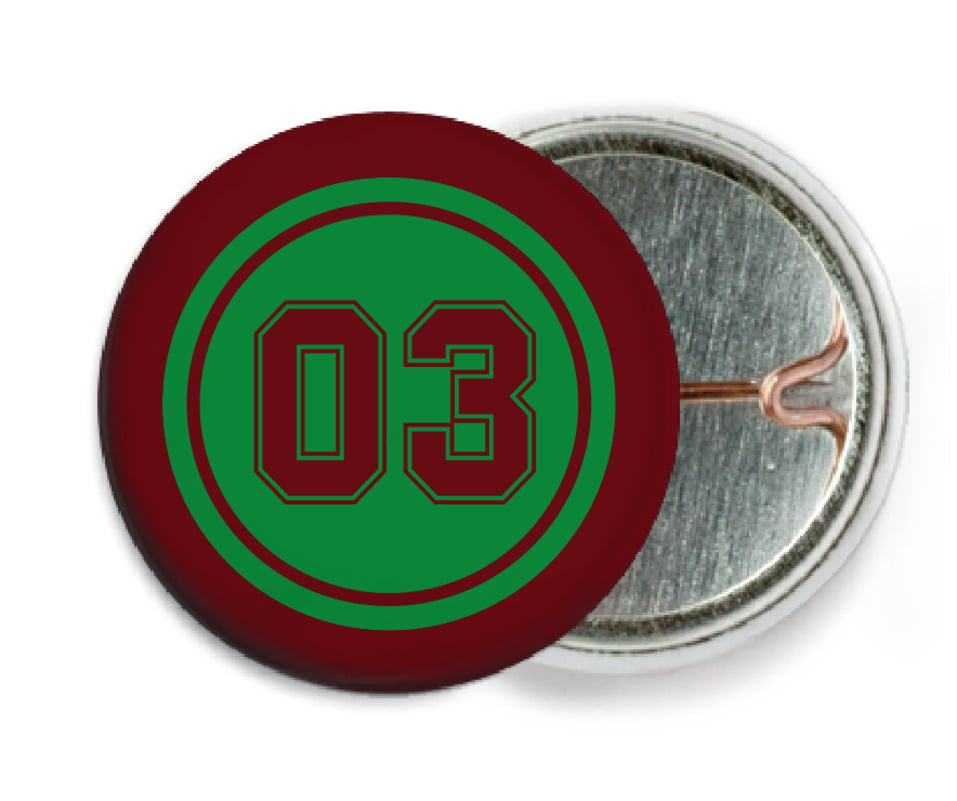 custom pin back buttons - green & maroon - soccer (set of 6)