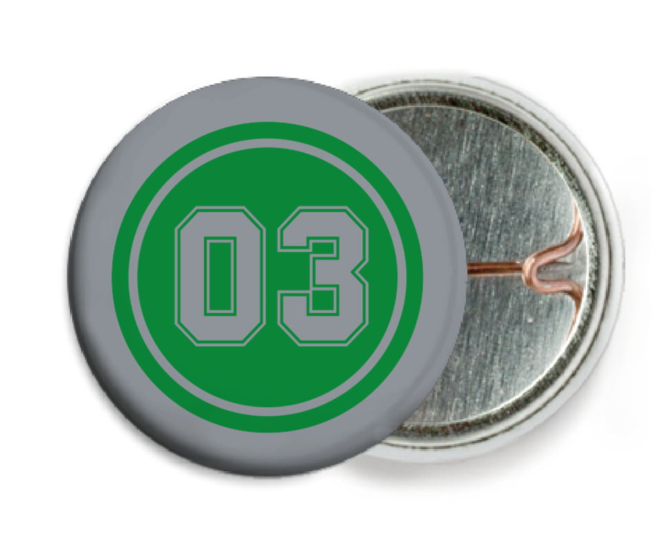 custom pin back buttons - green & silver - soccer (set of 6)