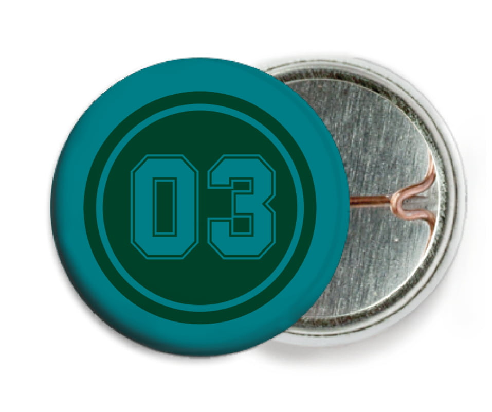 custom pin back buttons - forest & teal - soccer (set of 6)