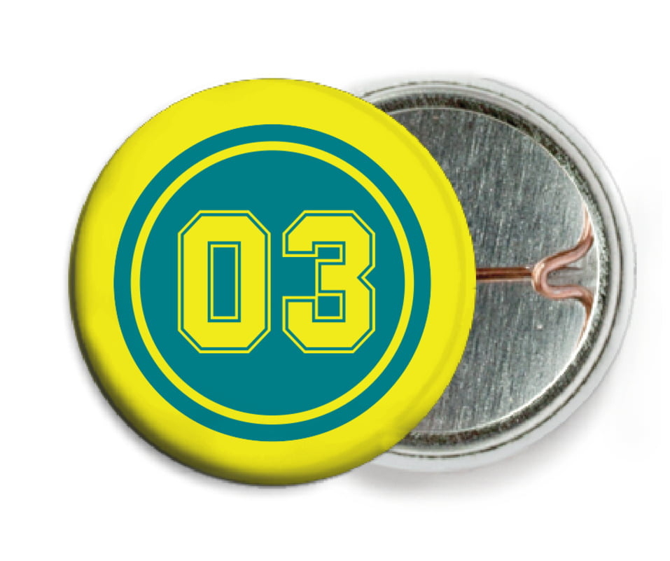 custom pin back buttons - teal & yellow - soccer (set of 6)