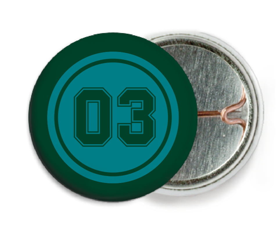 custom pin back buttons - teal & forest - soccer (set of 6)