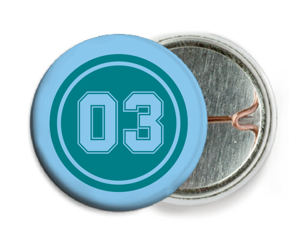 custom pin back buttons - teal & light blue - soccer (set of 6)